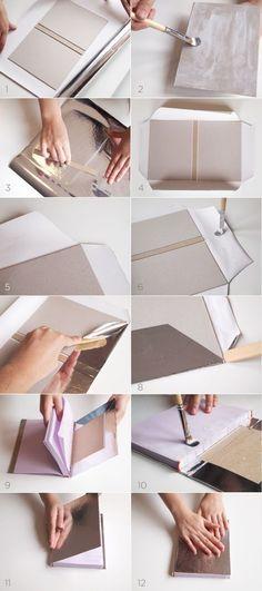 Encuadernado nail design using water - Nail Desing Modern Crafts, Diy And Crafts, Paper Crafts, Buch Design, Bookbinding Tutorial, Diy Notebook, Handmade Books, Book Binding, Filofax