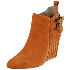 FSJ Women Stacked Chunky Heel Ankle Booties Almond Toe Pull On Boots... (2.580 UYU) ❤ liked on Polyvore featuring shoes, boots, ankle booties, thick heel boots, slip on booties, wide width boots, thick heel booties and faux suede booties