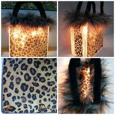 Leopard Print Glass Block/ Leopard Purse/ by CreativeGlassByBecky