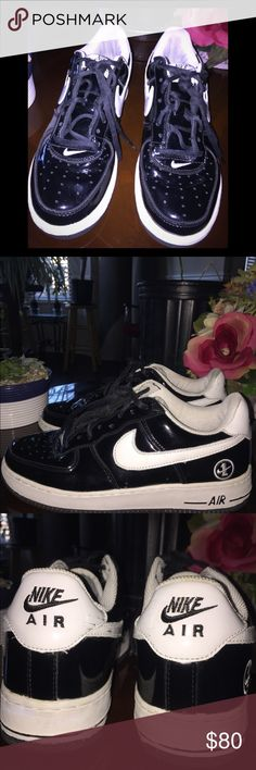 Vintage Black Patent Leather Air Force 1s Size 8.    Vintage Black And White Patent Leather Air Force 1s. 1 Time Wear, Almost New. #(Original Insole Removed) Nike Shoes Sneakers