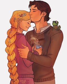 Rapunzel and Eugene-->They're wearing the sweaters Rapunzel knitted for them!