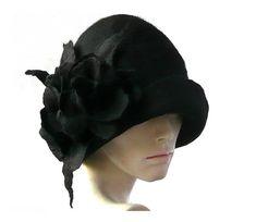 Cloche en chapeau de feutre noir chapeau en feutre noir chapeau chapeau Cloche chapeau clapet 1920 Hat Art noir chapeau Cloche victorienne 1920