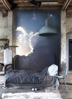 This is so pretty, who wouldn't mind falling asleep next to a wall full of clouds?
