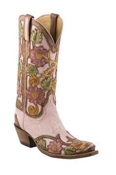 Lucchese Classics Destroyed Pink Goat w/ Hand Tooled Brown Eden Filigree