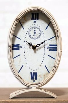 White Metal Oval Table Clock