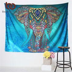Elephant Tapestry Colored Printed Decorative Mandala Tapestry Indian 130cmx150cm 153cmx203cm Boho Wall Carpet