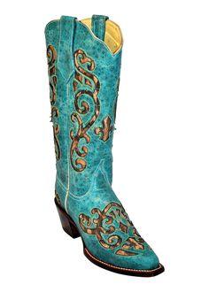 Ferrini Ladies Turquoise Leopard Print Inlay V-Toe Cowboy Boots