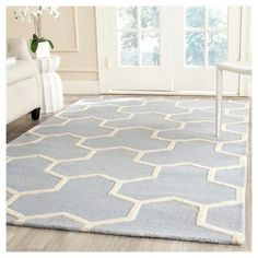 Delmont Texture Wool Rug - Light Blue / Ivory (6' X 9') - , Light Blue/Ivory, Safavieh