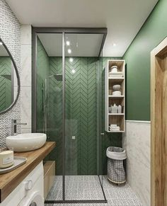 Fascinating Bathroom Design Decor Ideas (refresh your mind.) - Bong Pret : The plan of contemporary bedroom produces a tranquility which makes the feeling even more prevalent. It can be quite a very authentic. All the designs. Bad Inspiration, Bathroom Inspiration, Beautiful Bathrooms, Modern Bathroom, Bathroom Green, Dream Bathrooms, White Bathroom, Tranquil Bathroom, Bathroom Colours
