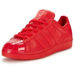 Adidas Originals Superstar Glossy Toe Fashion Trainer ($110) ❤ liked on Polyvore featuring shoes, sneakers, adidas originals, red shiny shoes, red trainers, fleece-lined shoes and adidas originals trainers
