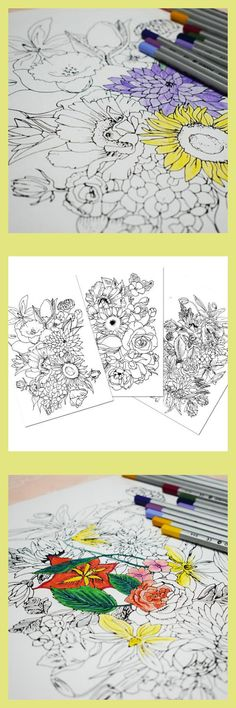Modern Flowers Adult Coloring Book Ad Coloringpages Coloringbook