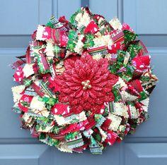 Ribbon Wreaths, Fabric Wreaths, and Deco Mesh Wreaths by KristinCraftsALot Rag Wreaths, Deco Mesh Wreaths, Christmas Holidays, Christmas Wreaths, Fabric Wreath, How To Make Wreaths, Poinsettia, 4th Of July Wreath, Garland
