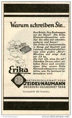 Original-Werbung/Inserat/ Anzeige 1928 - ERIKA SCHREIBMASCHINE / SEIDEL & NAUMANN  - ca. 100 x 70 mm