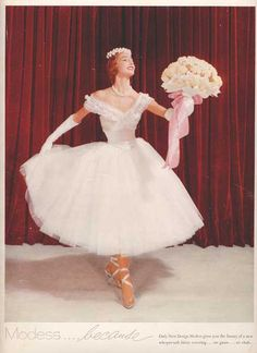 Beautiful Prima Ballerina 'Modess..because' 1956 Glossy Inside Back Cover Ad~Vogue Magazine