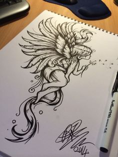 One on my tattoo designs ;) - One on my tattoo designs ; Girly Tattoos, New Tattoos, Body Art Tattoos, Skull Tatto, Neck Tatto, Fairy Tattoo Designs, Tattoo Designs For Women, Kunst Tattoos, Tattoo Drawings