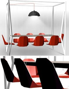 This is a dining set and the chairs are swings - think how much fun this would be at work, in your conference room!