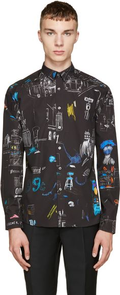 PS by Paul Smith Black Sketch Shirt