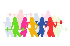 fitness icons woman silhouette Woman silhouette Fitness icon Illustration