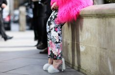 Floral Print Pants --  I love how the Alexander Wang Simona Fox Sandals and the bold pink coat pick up the colours on the floral print pants. So fluffy.
