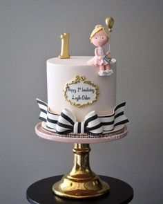 Cute whimsical girl balloon Birthday Cake, baby shower or christening idea. Tall cake with ribbon and gold frame decoration Cute whimsical girl balloon Birthday Cake, baby shower or christening idea. Tall cake with ribbon and gold frame decoration Baby Cakes, Baby Shower Cakes, Pretty Cakes, Cute Cakes, Fondant Cakes, Cupcake Cakes, Sweets Cake, Fondant Girl, Baby Girl Birthday Cake