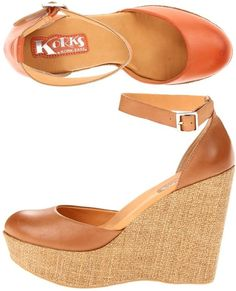 "Korks – Hepburn: $39.99, 55% off! (normally 89.00)    There are days when the classics will do just fine. Tinted leather upper, ankle strap with adjustable buckle closure, closed almond toe. 5"" Heel with 1 1/2"" platform. Available in tan and orange cream."