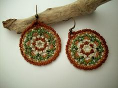 Forest Moss Beaded Mandala Earrings