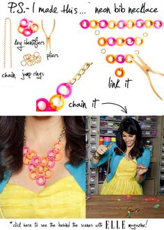 P.S.- I made this... Neon Bib Necklace   #DIY #NEON #SUMMER