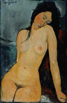 Amedeo Modigliani, Seated Nude C 1916.  My father had a copy of this beautiful painting.     .                                                                                                                                                      More