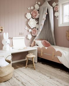 Love this pretty little girl's room by 👈🏻 Miffy Lamp and Linen canopy are all available in our sale 💕 . Childrens Room Decor, Nursery Room Decor, Burgundy Bedding, Miffy Lamp, Luxury Bedding Sets, Kids Room Design, Little Girl Rooms, Scandinavian Home, Girls Bedroom