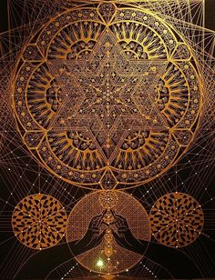 beautiful psychedelic gold symmetry sacred geometry visionary art mathematical