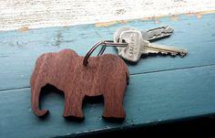 Wooden Laser Cut Elephant Keychain by NinaRaizel on Etsy, $21.00