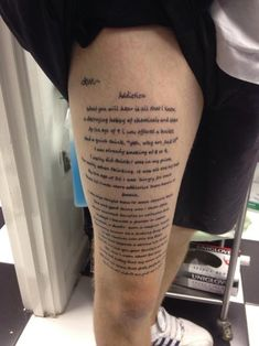 Amazing Thigh Lettering Tattoo For Guys
