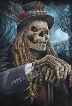 He waits at night, Baron Samedi Dark Fantasy Art, Arte Horror, Horror Art, Grim Reaper Art, Baron Samedi, Totenkopf Tattoos, Motorcycle Tattoos, Skull Pictures, Dark Art Drawings
