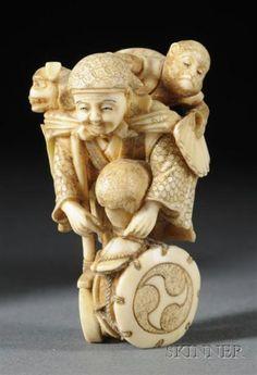 Ivory Netsuke, Japan, 19th century, figure of a monkey trainer, signed Josui, ht. 2 1/2 in.