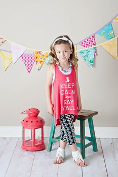 Keep Calm and Say Y'All Razorback Tank Coral - Ryleigh Rue Clothing by MVB