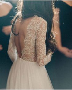 Winter wedding ideas: Long sleeve lace wedding dress with open back from Emma & . Winter wedding ideas: Long sleeve lace wedding dress with open back from Emma & Grace Bridal Studio. Open Back Wedding Dress, Wedding Dress Sleeves, Dresses With Sleeves, Lace Sleeves, Long Sleeved Wedding Dresses, Lace Dress, White Dress, Boho Wedding, Wedding Gowns