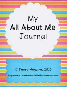 FREE My All About Me Journal. 20 pages of writing prompts where students write all about them: their likes and dislikes, feelings, favorites, etc.