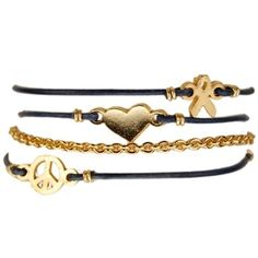 B371 - Ettika 3 Charms Leather and Chain Wrap Bracelet