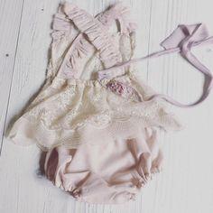 Cod+312Newborn+Lace+Romper+pale+blush+baby+by+4LittlePrincessProps