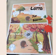 Juf Berdien zelfgemaakte lottospel thema herfst bos game Preschool autumn woods animals