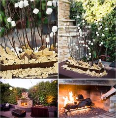 Ahh s'mores trees!  Rehearsal dinner dessert!!! Cafe Cruz has on outdoor patio with a fireplace! And a full bar so you can do a no host bar