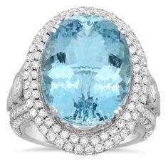 18k White Gold 2 2/5ct TDW White Diamond and 12 2/5ct Oval-cut Aquamarine Ring (E-F, VS1-VS2)