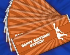 Personalized Basketball Themed Birthday Party Favors: Great idea for your son's NBA themed birthday party! Display at the dessert table or candy buffet.