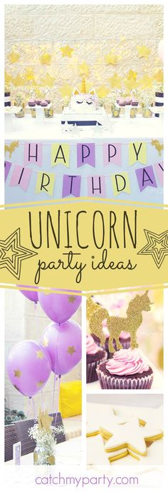 Be dazzled by this wonderful Unicorn birthday party! The birthday cake is fantastic!! See more party ideas and share yours at CatchMyParty.com