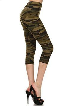 Women's Capri Leggings Army Camo Print ARMY  Go to the website to read more description.