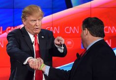 The different handshakes of Donald Trump  -  May 25, 2017:   THE...I CAN SHAKE WITH ONE HAND AND POINT WITH THE OTHER, CAN YOU?  -  Trump (L) and New Jersey Governor Chris Christie shake hands at the Republican Presidential Debate, hosted by CNN, at The Venetian Las Vegas on Dec. 15, 2015 in Las Vegas, Nevada, US.