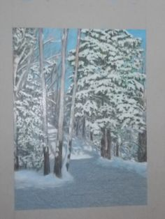 """My driveway in snow"" Prismacolor on grey paper"