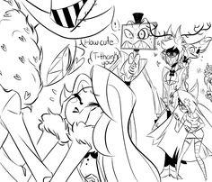Soulstar and Alastor: Get off from Charlie 💢 Character Art, Character Design, Monster Hotel, Hazbin Hotel Angel Dust, Alastor Hazbin Hotel, H Hotel, Hotel Trivago, Villainous Cartoon, Vivziepop Hazbin Hotel