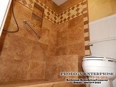 Walnut travertine shower 18x18 tiles and custom 4x4 border.