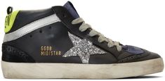 Golden Goose Black and Silver Glitter Mid Star Sneakers Black Glitter, Black Silver, Yellow Heels, Star Wars, Purple Suede, Leather Trainers, Golden Goose, High Top Sneakers, Socks